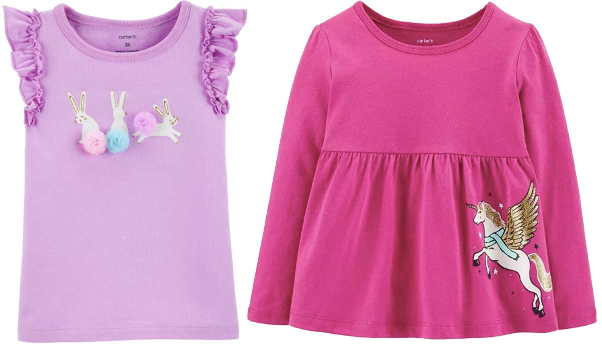 girls bunny and unicorn shirts carters