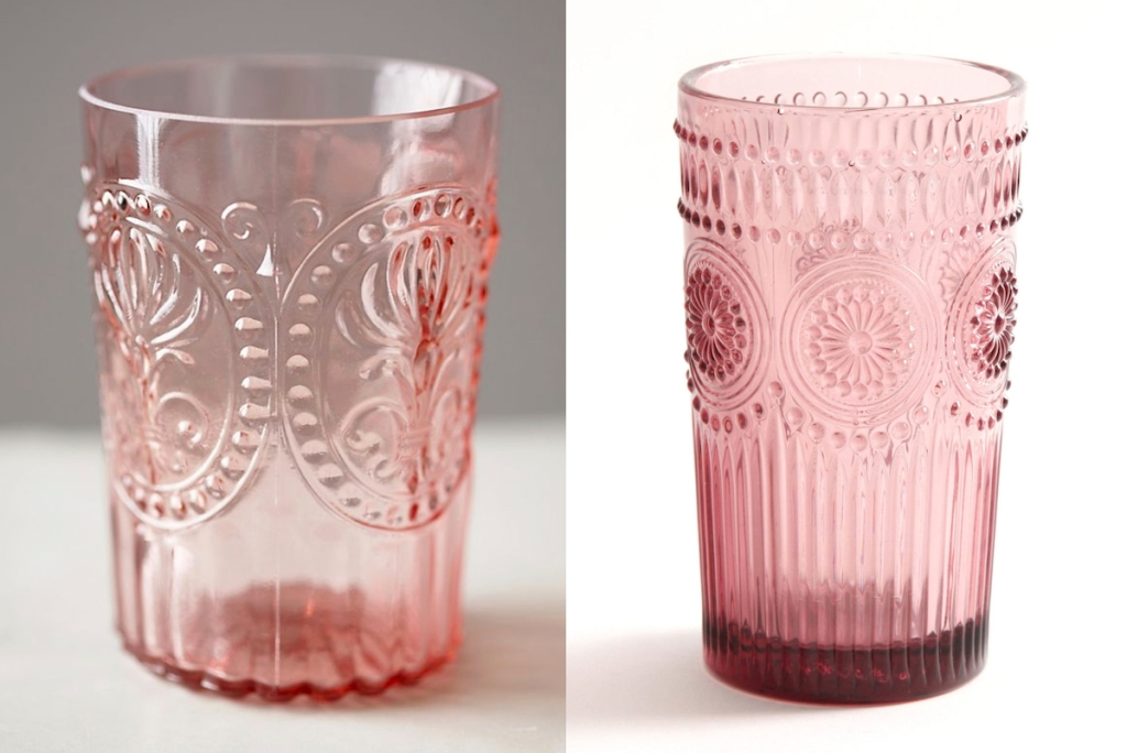side by side stock photos of pink drinking glasses