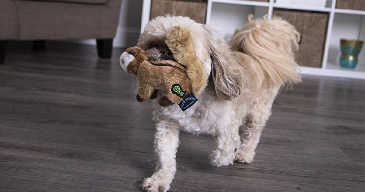godog wildlife chew toy in dog's mouth