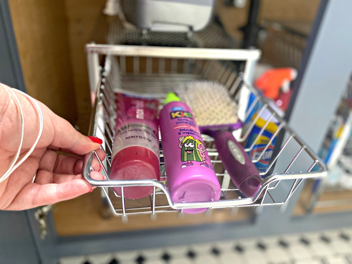 hair care items in a cabinet organizer under the sink organized