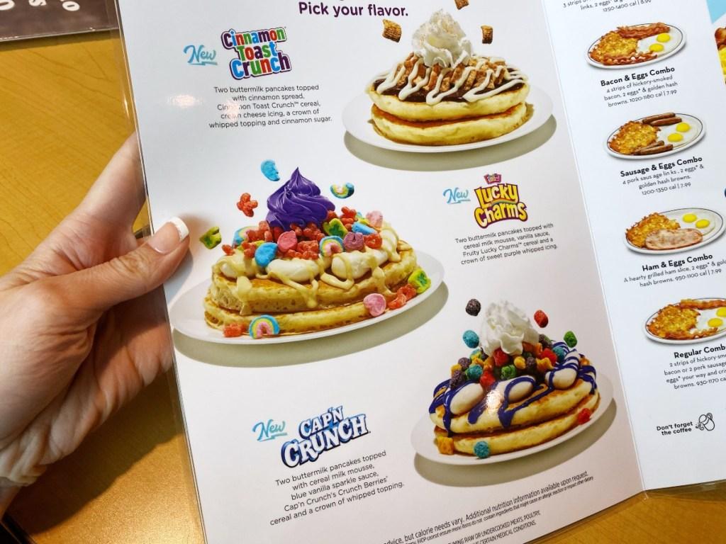 IHOP menu showing Cereal Pancakes