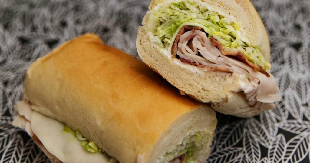 Jimmy John's sandwich cut into 2 halves