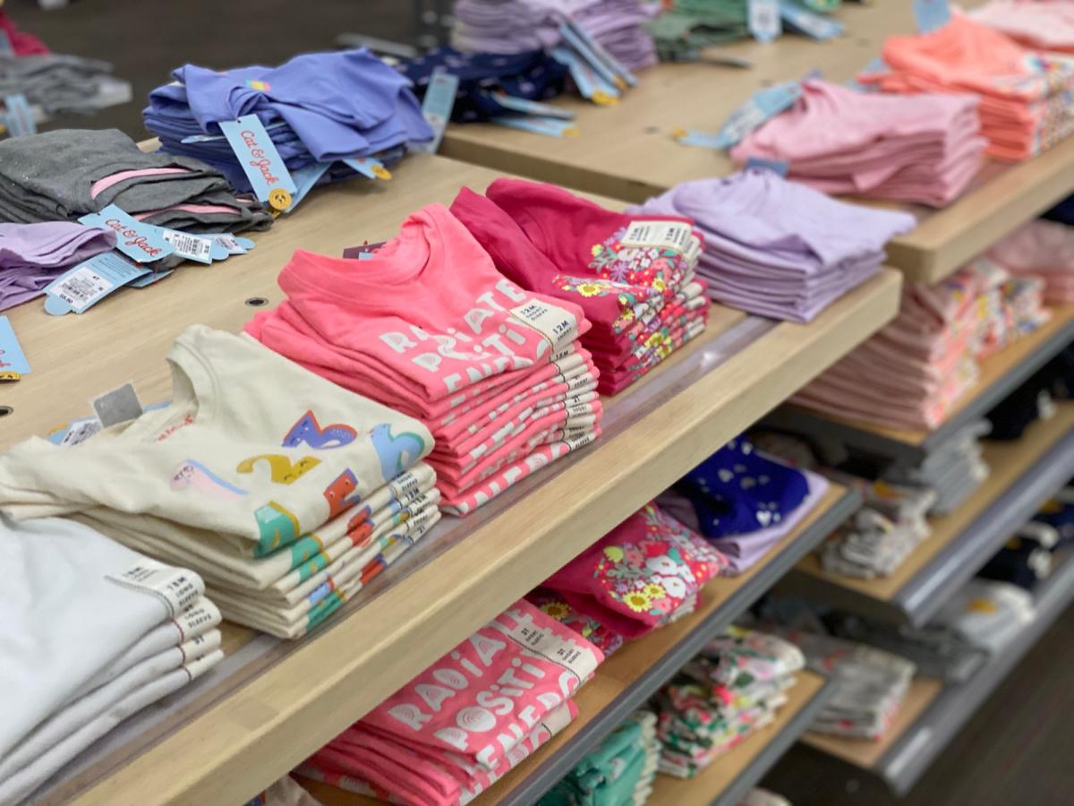 girls tees on display in store