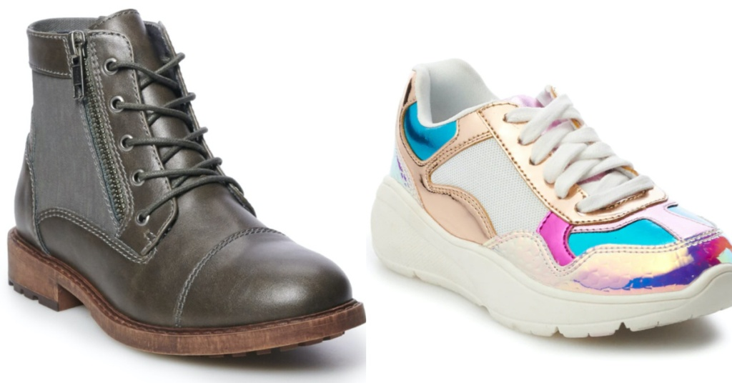 kids brown boot and girls multi-colored sneaker
