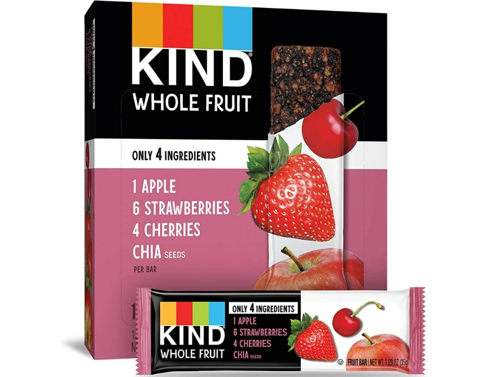 box of fruit bars with strawberries and apples pictured