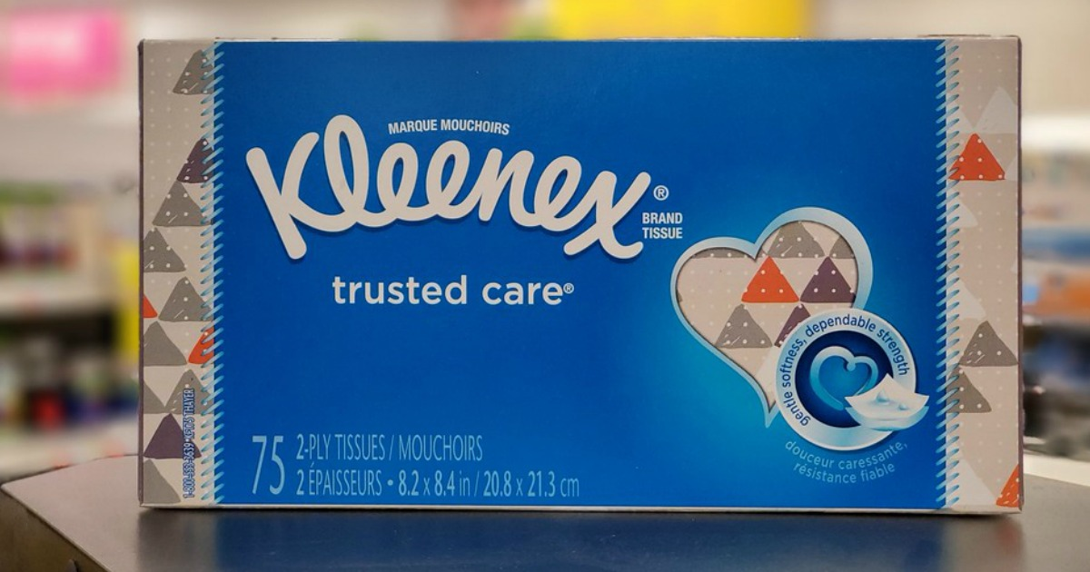 box of tissues on store counter