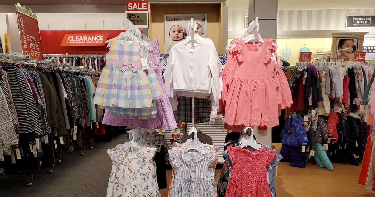 carters kids spring and easter apparel on display in store