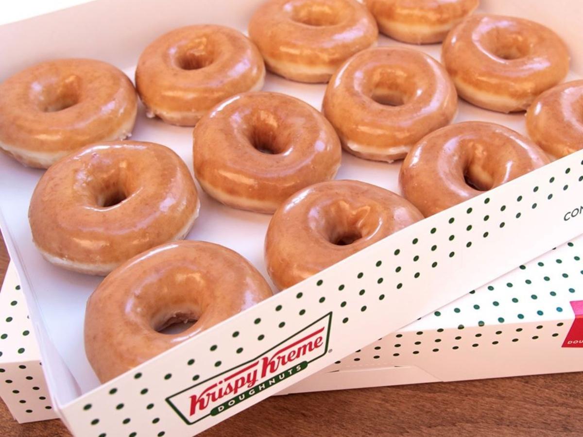 dozen Krispy Kreme original glazed doughnuts in a box