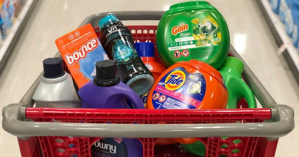 shopping basket full of laundry supplies
