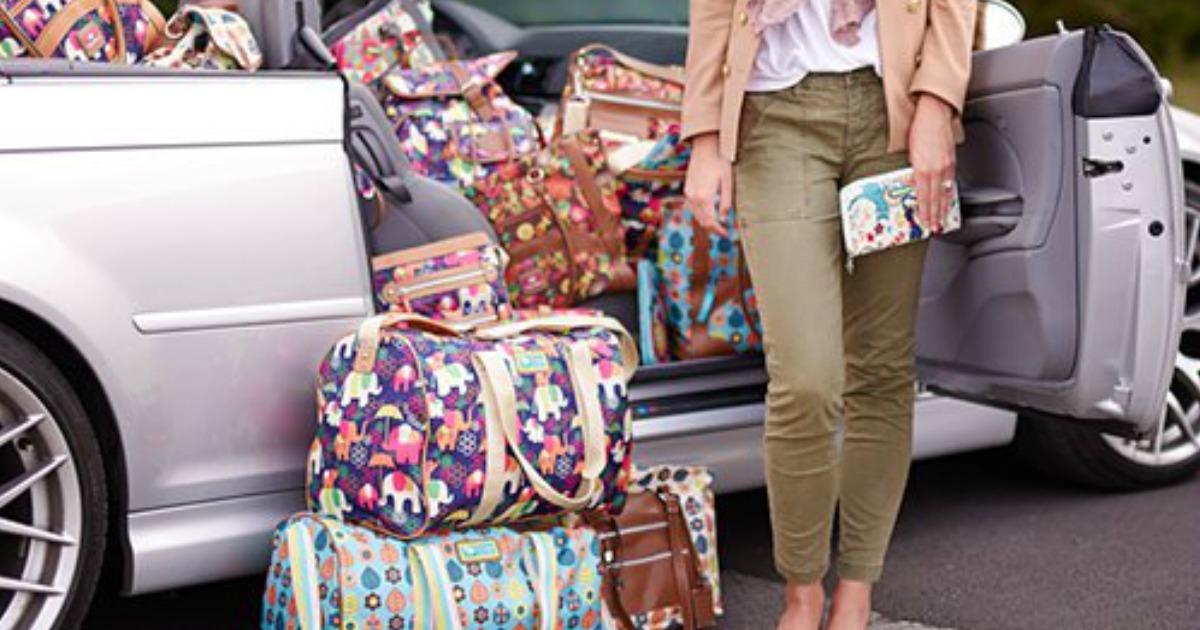 piles of duffel bags in a car