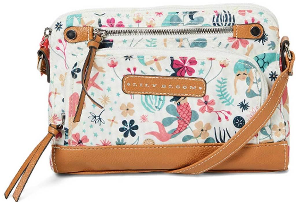 Lily Bloom White & Teal Sea Garden Deana Mid Crossbody Bag