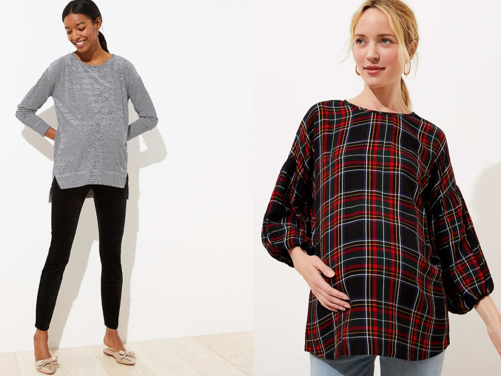 women wearing black and white stripe top and black leggings and plaid top