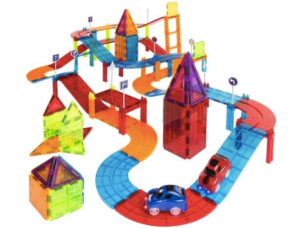 Magnetic tile stem toy race way with two cars