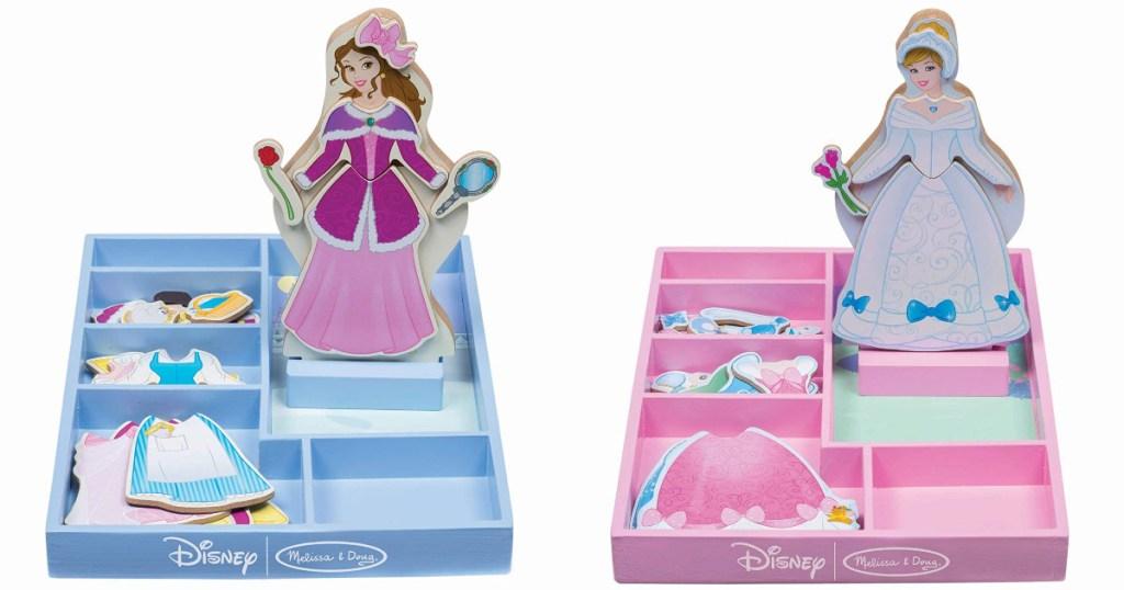 Belle and Cinderella wooden doll magnetic sets