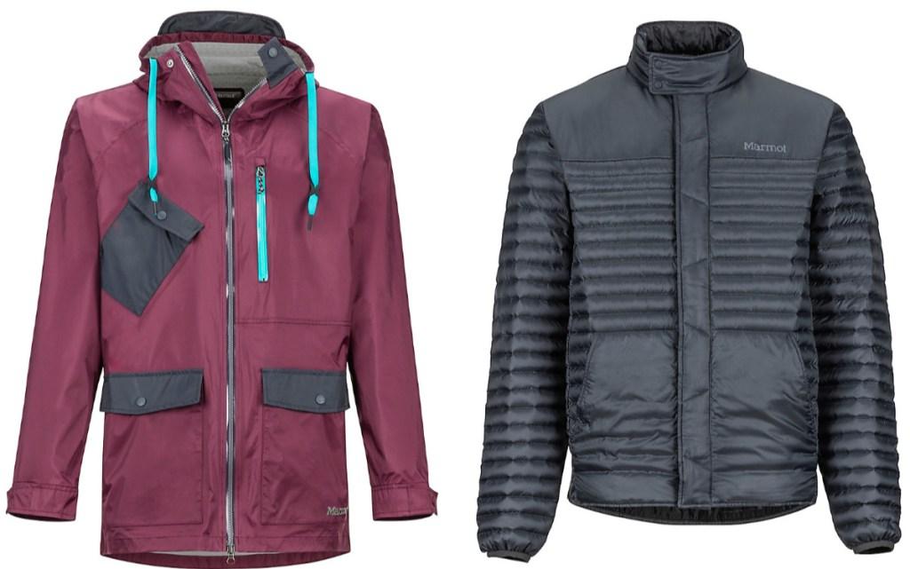 maroon and black marmot jacket and black marmot jacket