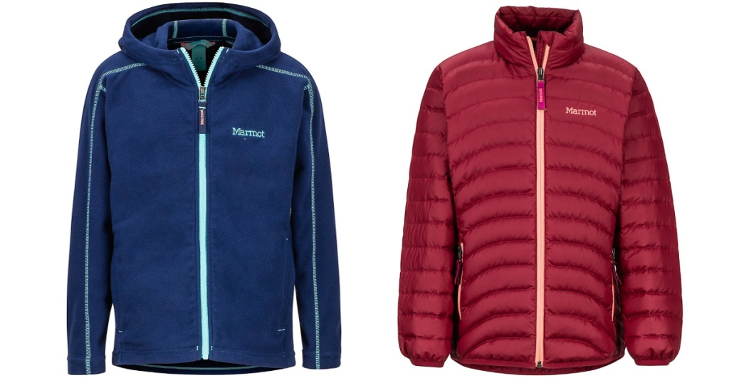 blue and red marmot jackets
