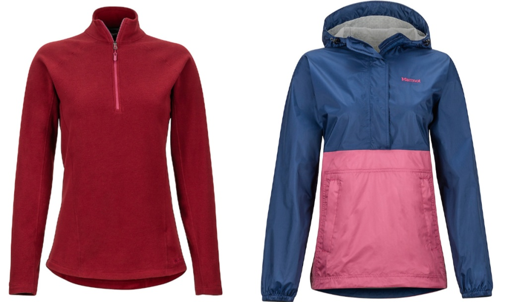 red sweatshirt and blue and pink jacket