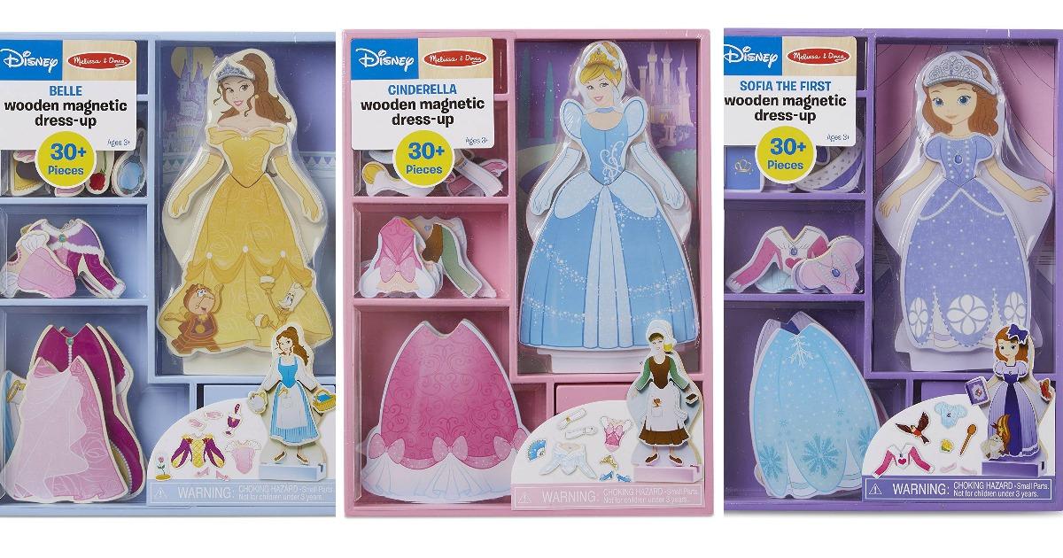 three sets of disney princesses magnetic doll dress up toys