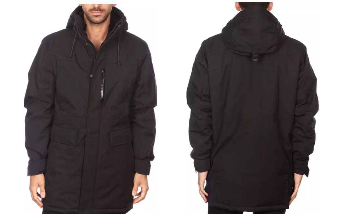 guy wearing black parka front and back view