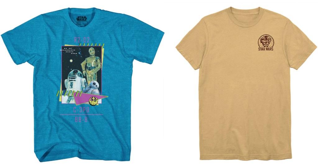 blue R2D2 shirt and gold star wars shirt
