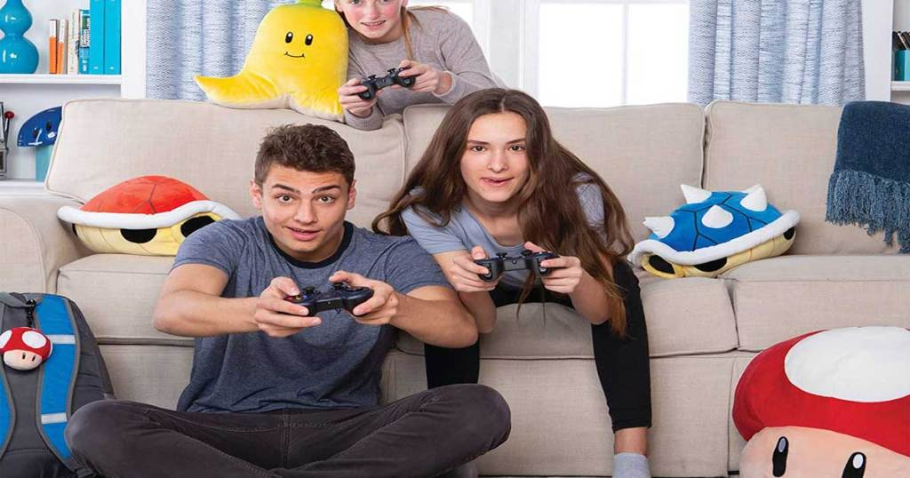 mocchi mocchi plushes kids playing video game