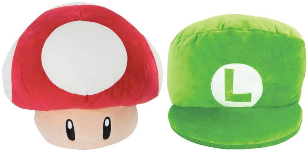 mocchi mushroom and luigi hat plushes