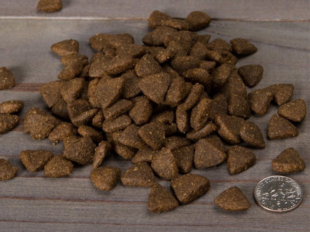 dog food and a quarter