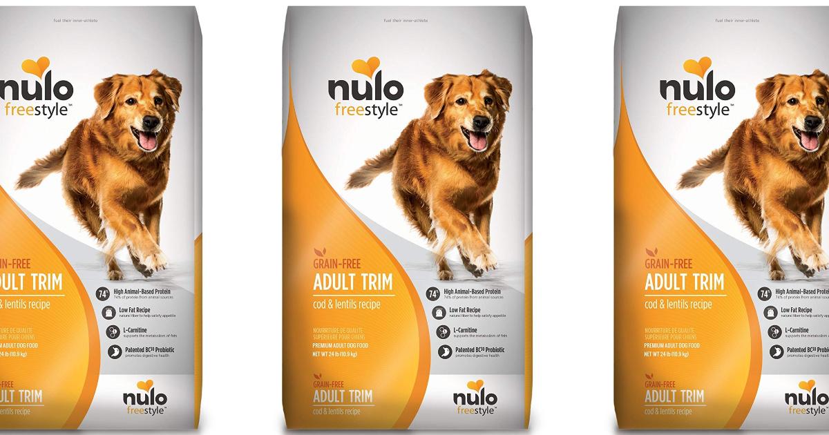 three nulo dog food bag