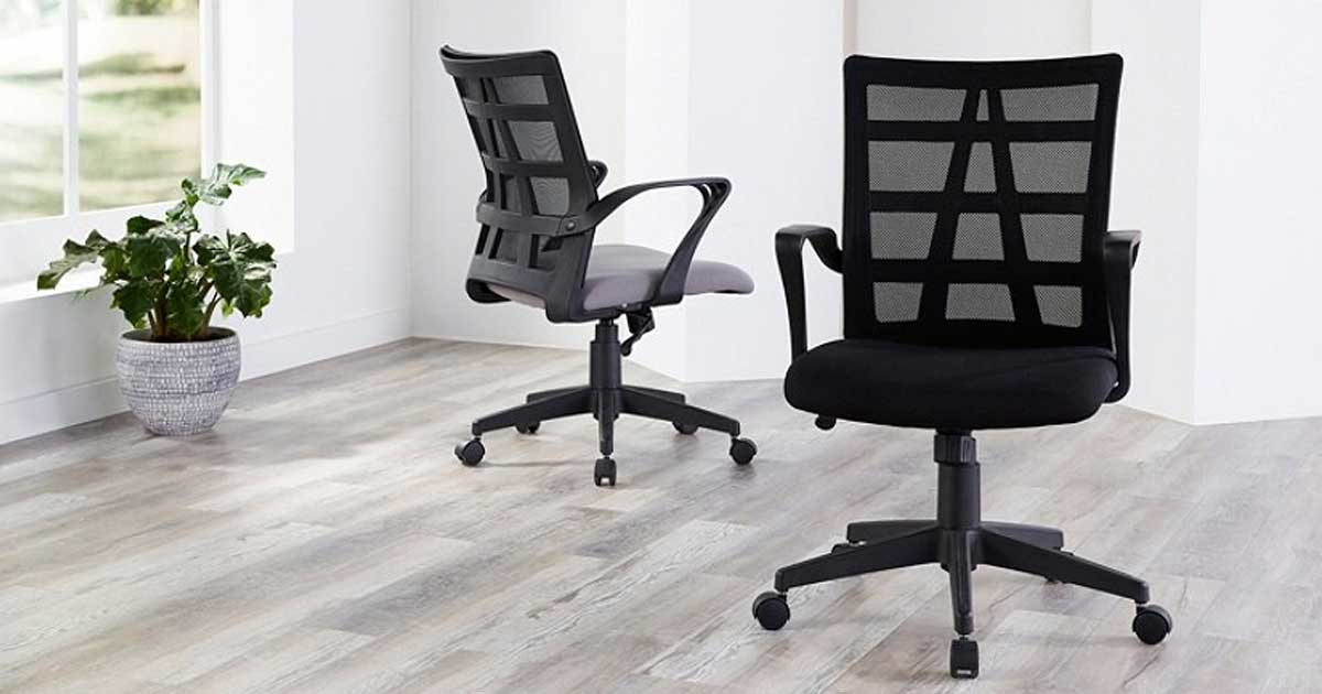 office chair with mesh back in a large room