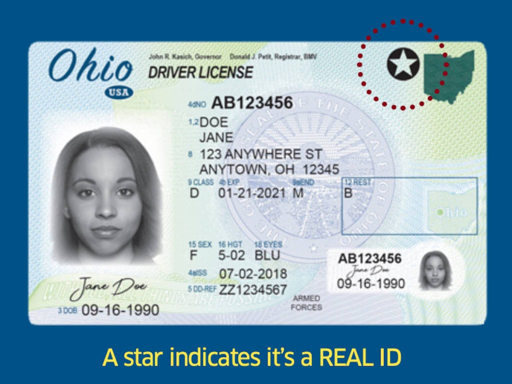 photo of an ohio real id