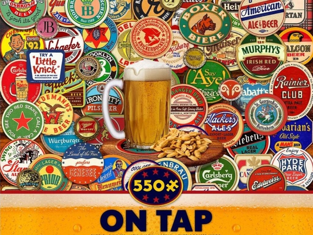 500 piece jigsaw puzzle featuring all types of beer caps