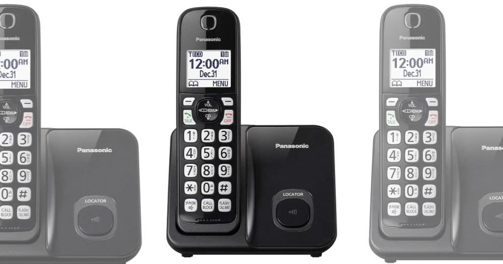 Panasonic black phone on base