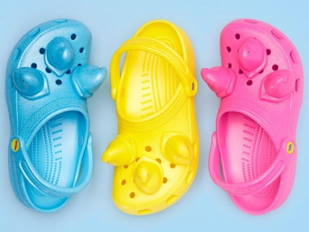 3 Crocs with Peeps on them