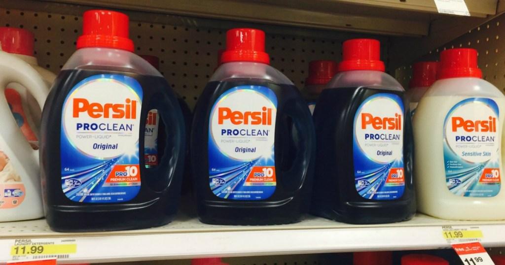 bottles of persil on a Target store shelf