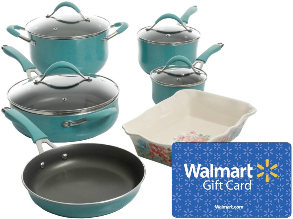 pots and pans in blue finish and gift card