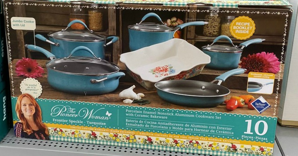 box with pots and pans on store shelf