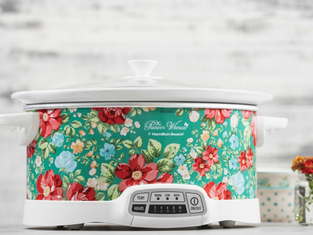 slow cooker in colorful flower pattern on counter