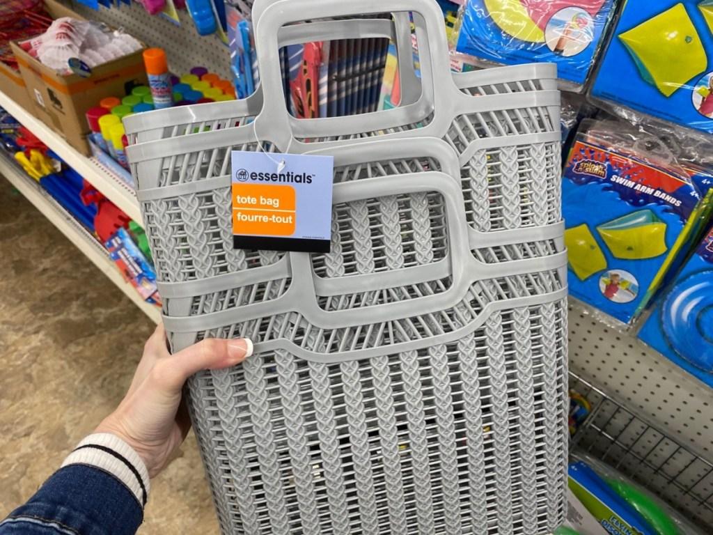 gray plastic tote