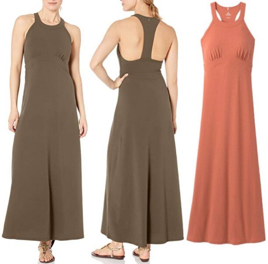 women modeling front and back sides of maxi dress and unworn maxi dress in another color