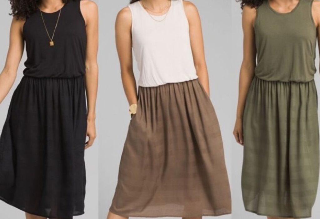 three womens bodies modeling flowy sleeveless knee length dress