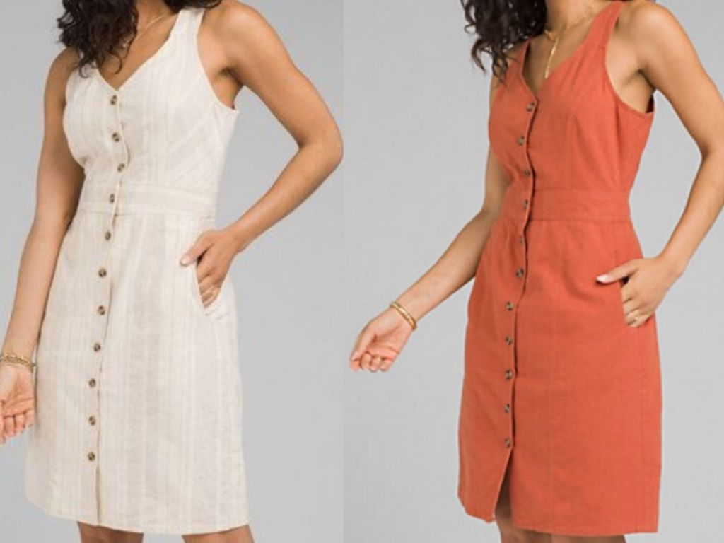 two womens torsos modeling a cotton jumper dress with buttons down the front