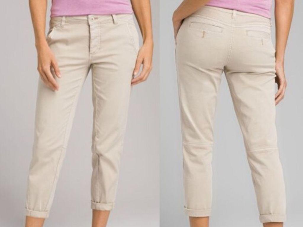 women modeling khaki pants front and back