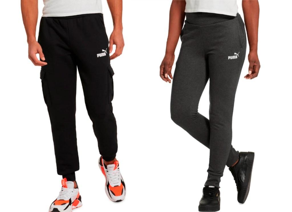 man wearing black puma pants woman wearing gray puma pants