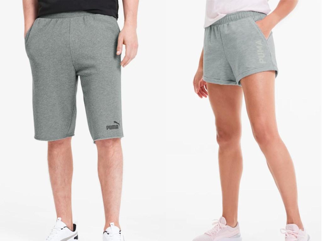 man wearing gray shorts woman wearing gray shorts