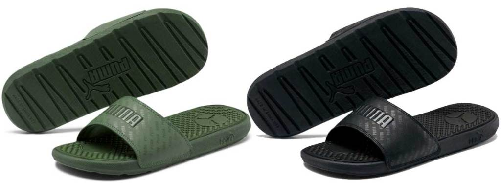 stock images of puma slides in green and black