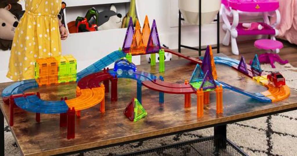 magnetic tile STEM toy race way
