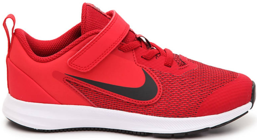 red shoes with black nike swoosh