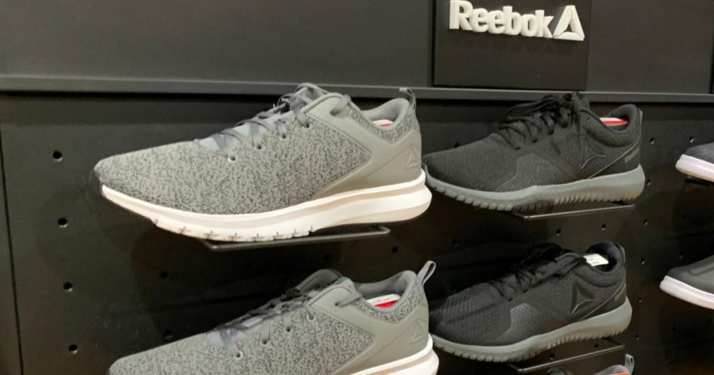reebok display of shoes