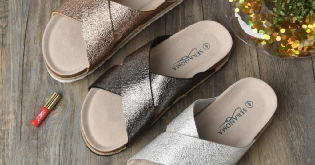 glittery sandals on floor