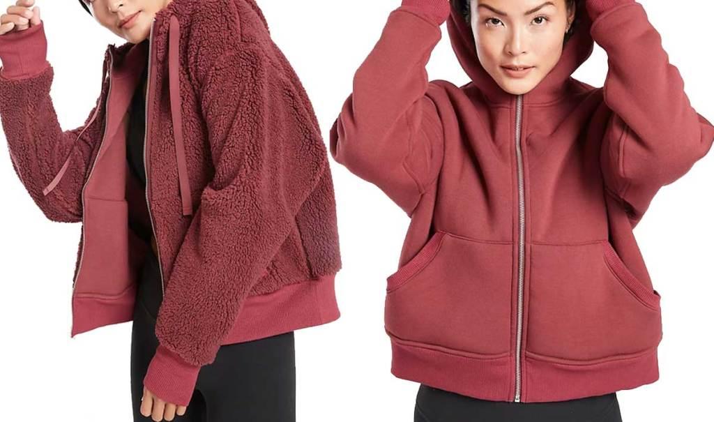 woman wearing an Athleta Cozy Sherpa Jacket